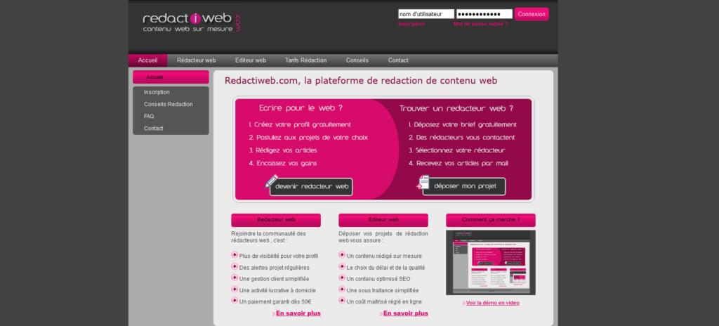 Redactiweb, plateforme pour freelance